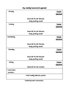 weekly agenda!