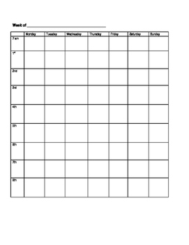 weekly calendar for planner