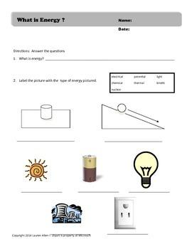 what is energy worksheet