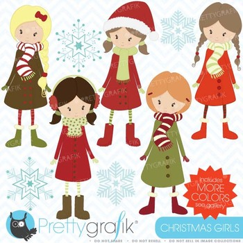 winter christmas girls clipart commercial use, vector grap