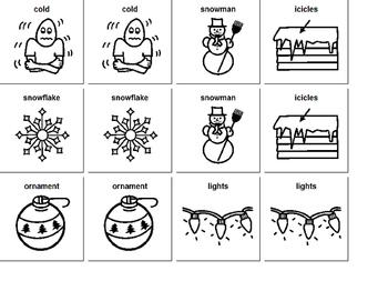 winter core vocab matching cards home/center activity