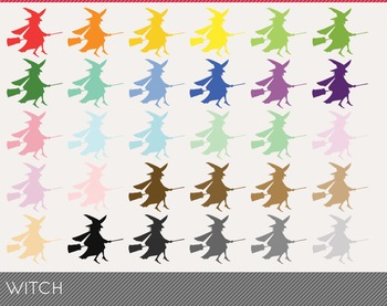 witch Digital Clipart, witch Graphics, witch PNG, Rainbow