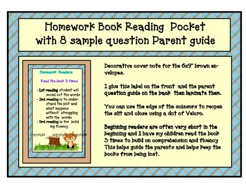 woodland Homework book sleeve cover & parent question sugg