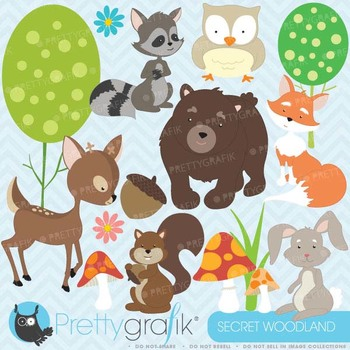 woodland animals clipart commercial use, vector graphics - CL576