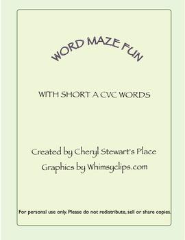 Word Maze Fun-Short A CVC