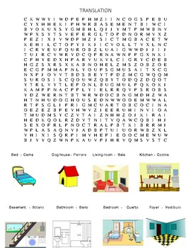 word search spanish and english translation with pictures