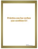 Spanish e-i Stem Changing Verb Worksheet