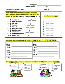 worksheet- months and dates in French
