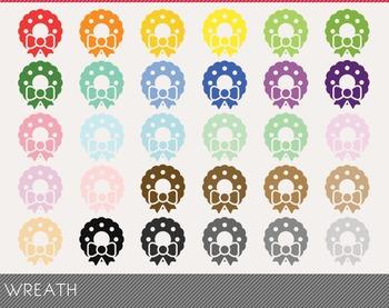 wreath Digital Clipart, wreath Graphics, wreath PNG, Rainb