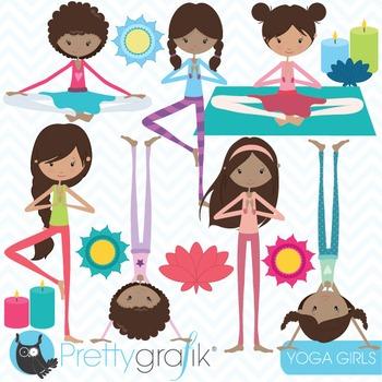 yoga girls clipart commercial use, vector graphics, digita