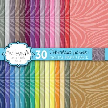 zebra animal print digital paper, commercial use, scrapboo
