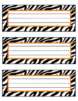 zebra nameplates or labels orange accent with lines