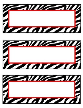 zebra nameplates or labels red accent